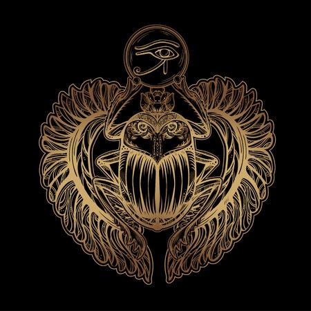 escarabajo: Imagen tatuaje vector aislado del escarabajo de oro beetleon un fondo negro. sacer Carabaeus. El antiguo símbolo espiritual de Egipto, Dios Khepri