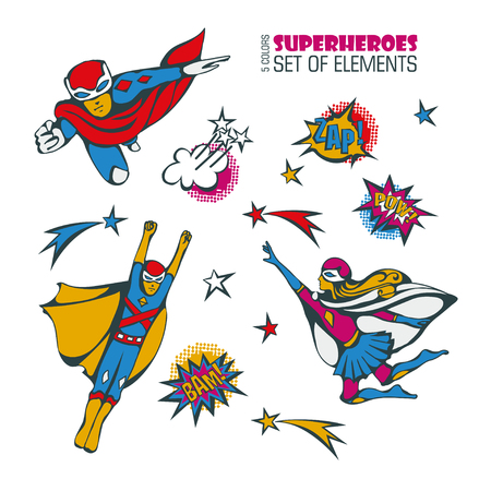 Superheroes - vector set of isolated characters, elements, comics speech and explosion bubbles on a white background Vettoriali