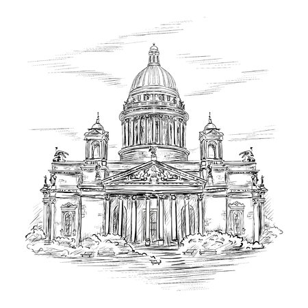 cathedrals: Saint Isaacs Cathedral in St. Petersburg, Russia. Hand drawn sketch  in the style of an ancient engraving