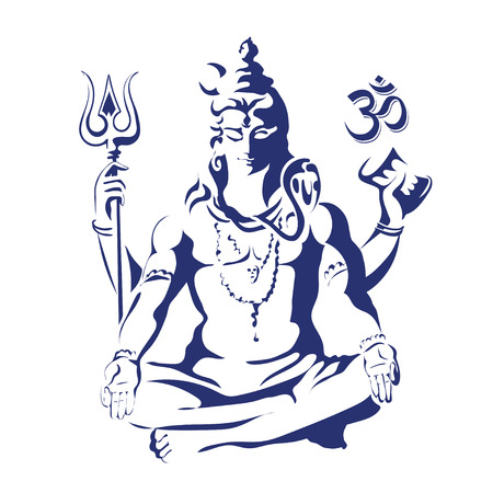 ritual: Lord Shiva in the lotus position with sacred of Hindu traditional symbols -  trishul, sound om and ritual drum damaru. Maha Shivaratri. Black and white vectir illustration