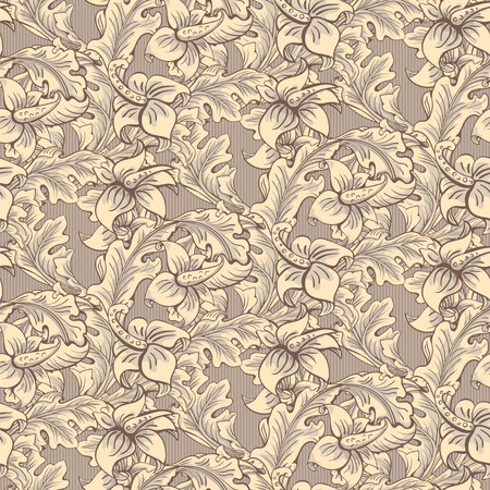 rococo: Vintage wallpaper seamless pattern composed of leaves and flowers. Victorian, Baroque and Rococo style