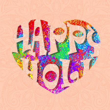 dhulandi: Happy Holi celebration. Creative handmade banner with multicolor, colorful  splash in the shape of a heart and Hindu-mehendi background for Holi festival