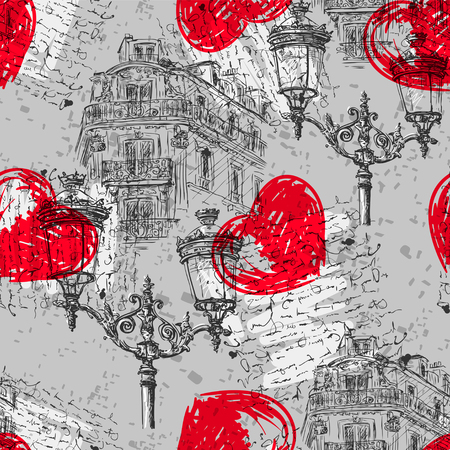 parisian: Paris. Vintage seamless pattern with Parisian house with balconies, lights, red heart and  and text. Retro hand drawn vector illustration.
