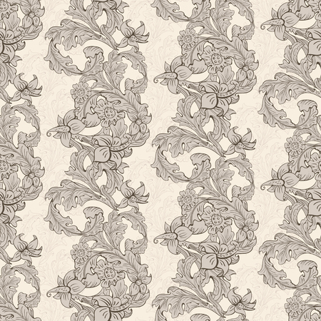 Vintage wallpaper seamless pattern composed of leaves and flowers. Victorian, Baroque and Rococo style