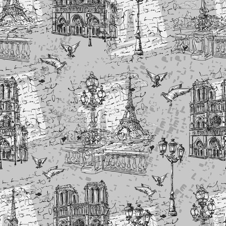 dame: Seamless background Paris in retro style. The embankment River Seine, Notre Dame, lanterns and doves on a background of letters imitation.