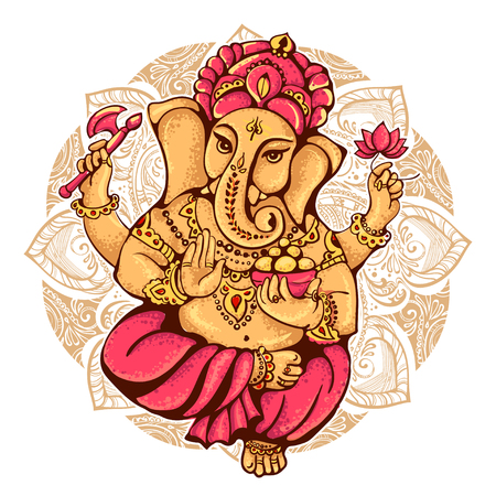 lord Ganesh. Ganesh Puja. Ganesh Chaturthi. It is used for postcards, prints, textiles, tattoo. Vettoriali
