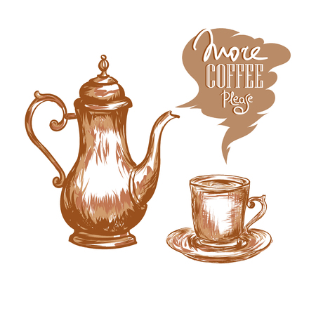 Coffee pot, cup of coffee and inscription Morning Pleasure on a white background. Vector Vetores
