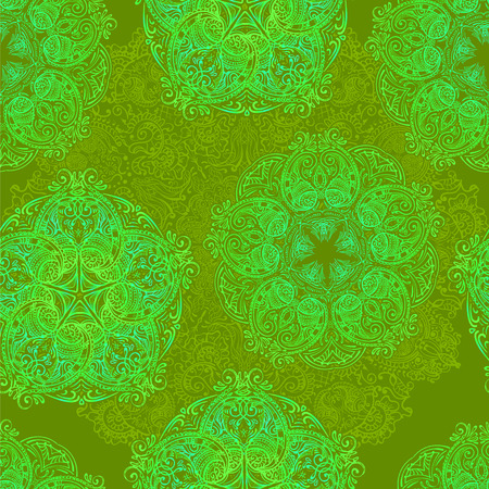 traditional culture: ornate seamless pattern of mehendi and mandala in traditional Indian and Muslim traditions. It can be used for packaging, wallpaper and fabric printing.