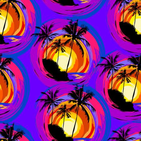 黄色とピンクと紫のヤシの木を描いた熱帯パターン ハイライト ターコイズ ブルーの背景についての考察