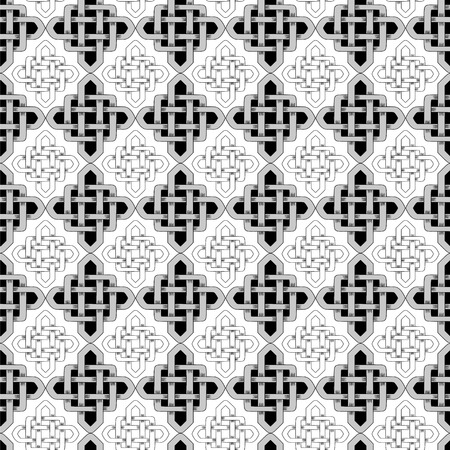 Scandinavian Celtic monochrome seamless pattern