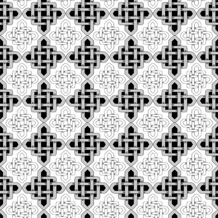 Scandinavian Celtic monochrome seamless pattern