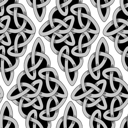 Scandinavian Celtic monochrome seamless pattern Vector Illustration
