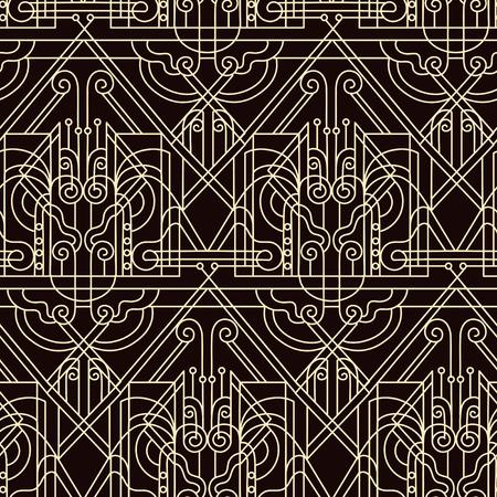 twenties: Artdeko - seamless pattern in vintage style of the twenties beginning of the twentieth century Illustration