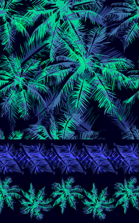 set of vector tropical isolated border, Seamless tropical pattern depicting  glowing palm tree on a black background