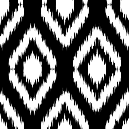gobelin tapestry: Seamless monochrome Ikat Ogee Background Pattern