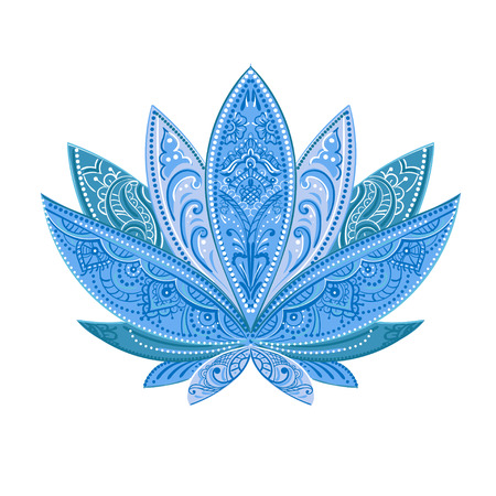 unusually Vector isolated image of a blue lotus, ornate paisley and mehendi. Great for greeting cards, yoga, and printing. Illustration