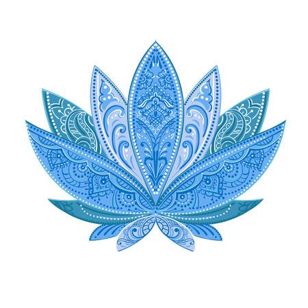 Ungewöhnlich isoliert Vektor-Bild von einem blauen Lotus, verzierten Paisley und mehendi. Groß für Grußkarten, Yoga und Drucken. Standard-Bild - 54610840