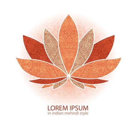 exceptionnellement l'image vectorielle d'un lotus, fleuri paisley mandala et mehendi. Idéal pour les cartes de voeux, le yoga, les épices de magasin, boutique ethnique et de l'impression.