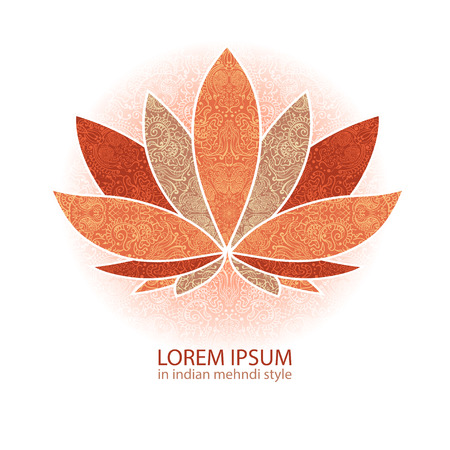 lotus pattern: unusually Vector  image of a lotus, ornate paisley mandala and mehendi. Great for greeting cards, yoga, Store spices, ethnic shop and printing.