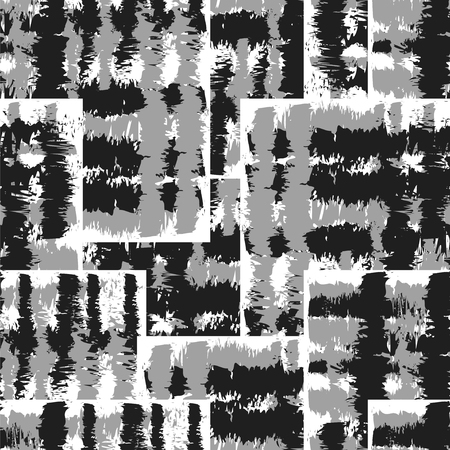 Seamless  Ikat Pattern. Abstract black and white background for textile design, wallpaper, surface textures Illusztráció