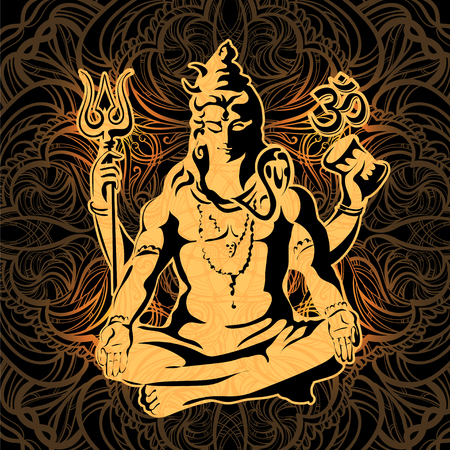 Golden Lord Shiva in the lotus position with sacred of Hindu traditional symbols  on black background