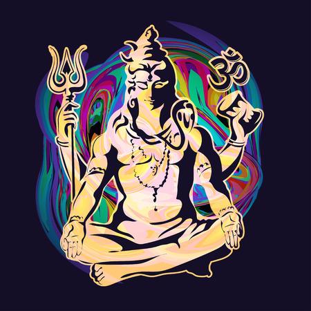 position d amour: Seigneur Shiva assis dans la position du lotus sur un fond psych�d�lique. Une affiche pour une partie, l'impression sur T-shirts, des cartes de v?ux ou des invitations Illustration