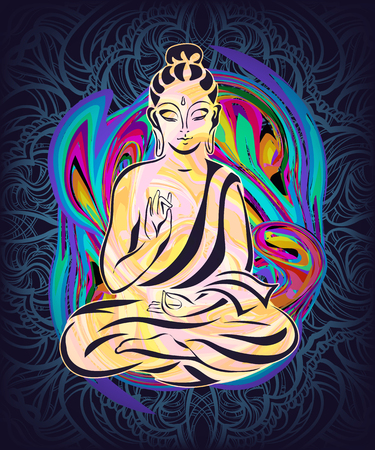 sanctity: Buddha sitting in the lotus position on a psychedelic background. A poster for a party, printing on T-shirts, greeting cards or invitations Illustration