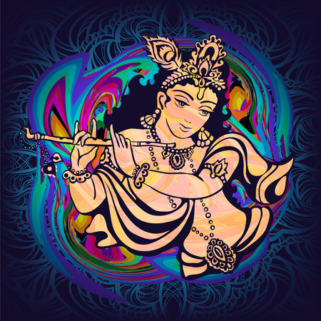krishna: Krishna playing the flute on a psychedelic background. Vector poster for a party, printing on T-shirts, greeting cards or invitations