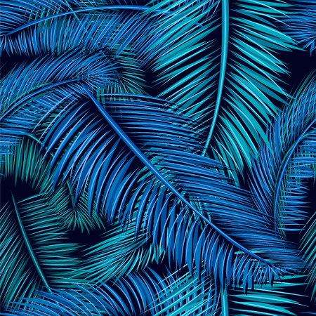 Seamless tropical pattern of Palm branch and leaves. Vector illustration
