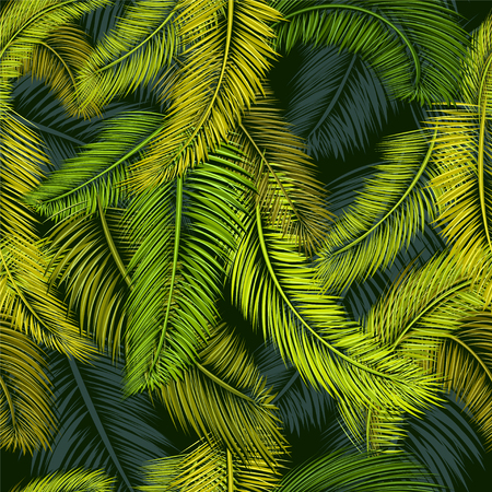 palm branch: Seamless tropical pattern of Palm branch and leaves. Vector illustration Illustration