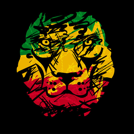 Rasta theme with lion head on black background. Vector illustration. Stock Illustratie
