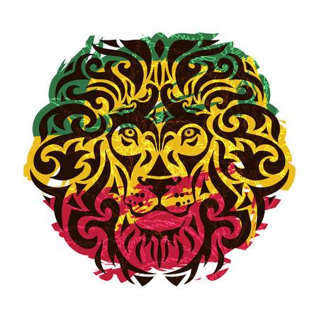 白い背景の上のライオンの頭を持つラスターのテーマ。ベクトルの図。