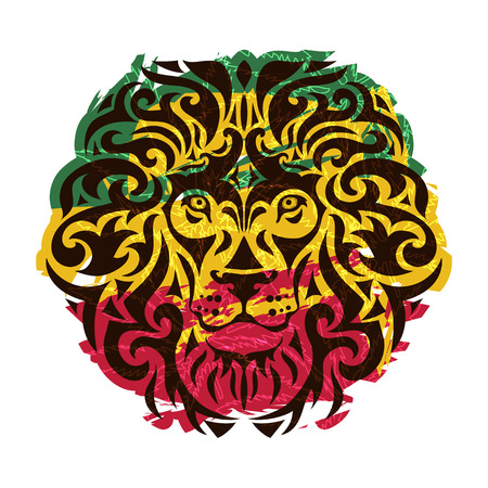 Rasta theme with lion head on a white background. Vector illustration. Ilustração