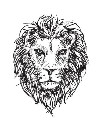 ベクターの手描きスケッチ ライオンの頭の