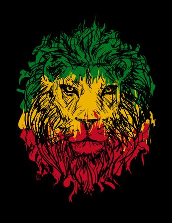 rasta colors: Rasta theme with lion head on black background. Vector illustration. Illustration