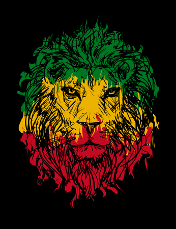 Rasta theme with lion head on black background. Vector illustration. Vectores