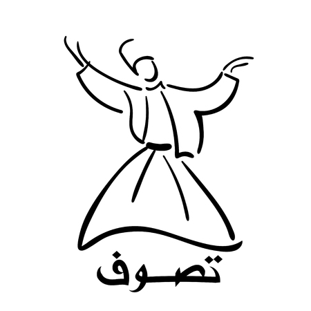sufism: inscription in Arabic - Sufism. Whirling  Dervish
