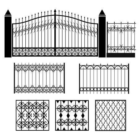 Metal smeedijzeren hekken, roosters, hekken. Stock Illustratie