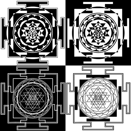 Collection of abstract black and white yantras. Sri Durga Sahasrara. Sacred symbols of Buddhism and Hinduism.