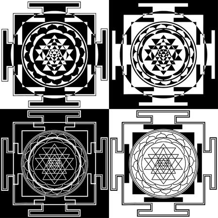 Collection of abstract black and white yantras. Sri Durga Sahasrara. Sacred symbols of Buddhism and Hinduism.