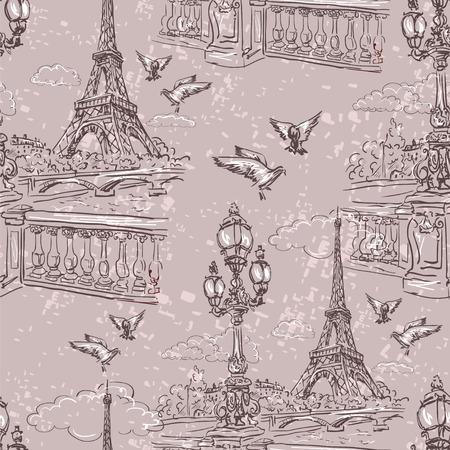 seine: Seamless background Paris in retro style. The embankment River Seine, lanterns and doves