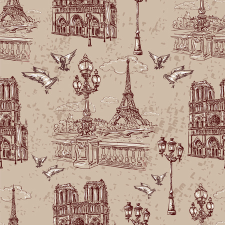 Seamless background Paris in retro style. The embankment River Seine, Notre Dame, lanterns and doves
