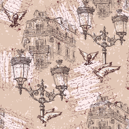parisian: Paris. Vintage seamless pattern with Parisian house with balconies, lights and imitation inscription . Retro hand drawn vector illustration. Illustration