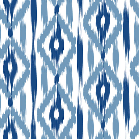 classic art: seamless pattern Tribal Art  Ikat Ogee in traditional classic blue and white colors