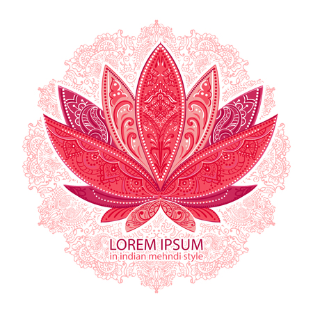 unusually Vector  image of a lotus, ornate paisley mandala and mehendi. Great for greeting cards, yoga, Store spices, ethnic shop and printing.