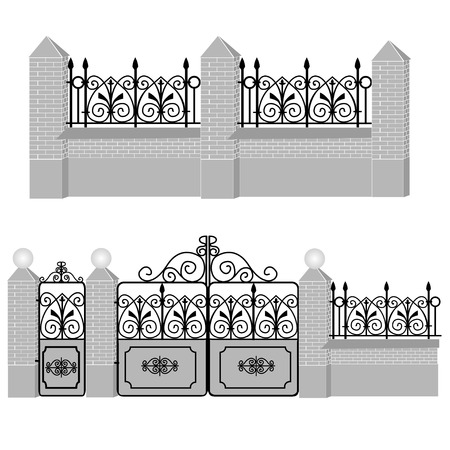forging: Metal wrought-iron gates, gate and fence with round lamps and stone and brickwork. Artistic forging.