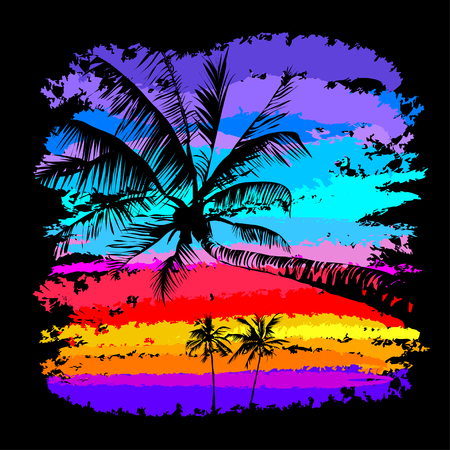 black silhouettes of palm trees on a background of multicolored tropical sunset