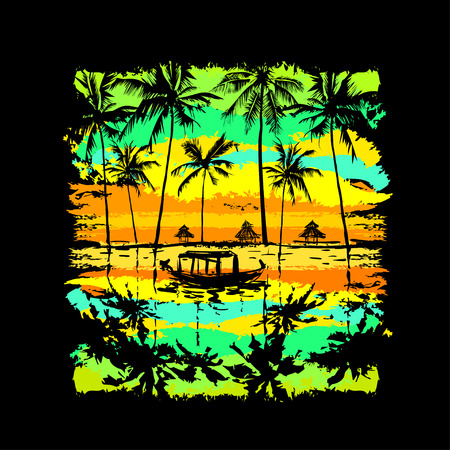 tropical sunset: tropical sunset with reflected palms in the water and fishing boat Illustration
