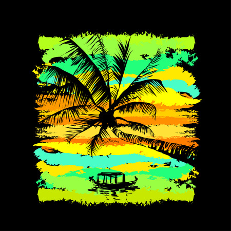 tropical beach panoramic: tropical sunset with reflected palms in the water and fishing boat Illustration