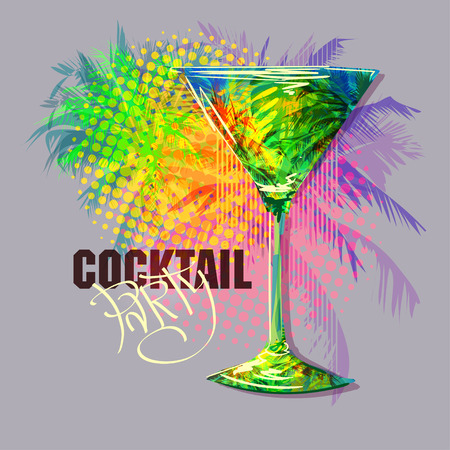 Cocktail Party Invitation Poster. Hand drawn digital vector illustration wineglass for cocktail with palm trees inside